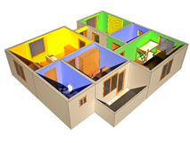 Hoogste mening van 3d flat zonder dak stock illustratie