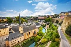 Hoogste mening van Abbey de Neumunster in Luxemburg Royalty-vrije Stock Foto's