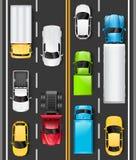 Hoogste mening van auto's en vrachtwagens op de weg De auto's drijven op de weg Verkeer op de weg Vector stock illustratie