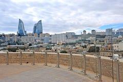 Hoogste mening van Baku stadscentrum Stock Foto's