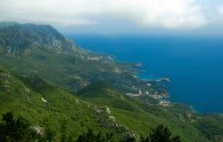 Hoogste mening van bergen van Adriatische overzees en Budva Riviera, Monte stock afbeeldingen