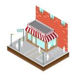 Hoogste mening van beste winkel van de straatbouw met parkeren Royalty-vrije Stock Fotografie