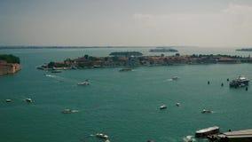 Hoogste mening van boten in Venetië stock video
