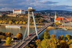 Hoogste mening van Bratislava, hoofdstad van Slowakije Stock Foto