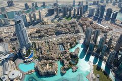 Hoogste mening van Burj Khalifa, Doubai, de V.A.E stock fotografie