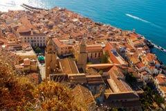 Hoogste mening van Cefalu, Sicilië Royalty-vrije Stock Foto's