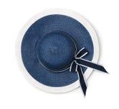 Hoogste mening van de blauwe hoed van het de zomerstro Stock Fotografie