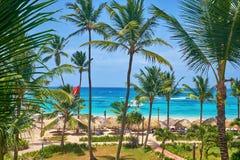 Hoogste mening van de blauwe oceaanpalmen en de met stro bedekte daken royalty-vrije stock afbeeldingen