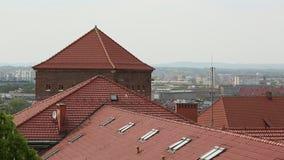 Hoogste mening van de daken in het historische centrum van Krakau stock video
