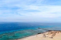 Hoogste mening van de Golf van Aqaba en koraalriffen Stock Afbeeldingen
