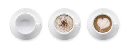 Hoogste mening - van de hartvorm of liefde symbool op koffiekop, lege coffe Stock Fotografie