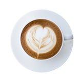 Hoogste mening van de hete kop van koffie latte cappucino met hart gevormde FOA stock foto