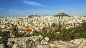 Hoogste mening van de Heuvel van Athene en Lycabettus-in Griekenland Panorama Royalty-vrije Stock Afbeelding
