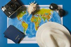 Hoogste mening van de kaart van reistoebehoren Royalty-vrije Stock Foto