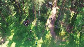 Hoogste mening van de mensen in het bos in de campagne voorraad Groep atleten in het bos op een de zomerdag stock videobeelden