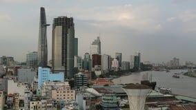 Hoogste mening van de Rivier van Ho Chi Minh City en Saigon-, Vietnam stock video
