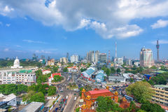 Hoogste mening van de stad en de opstopping van Colombo in stadscentrum Stock Foto