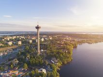 Hoogste mening van de stad van Tampere stock fotografie