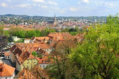 Hoogste mening van de stadscentrum van Graz Stock Afbeelding