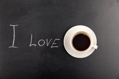 Hoogste mening van de stoom van de koffiemok en ik houd van van letters voorziend Stock Fotografie