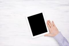 Hoogste mening van de tablet van de bedrijfsmensenholding Stock Foto's