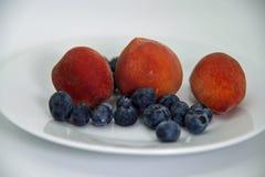 Hoogste mening van drie kleine en gezonde perziken van Florida en anti-oxyderende geladen bosbessen stock foto