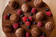 Hoogste mening van een dessertcake van mascarponekaas, koffieespresso, kippeneieren, suiker, koekjes, en chocolade stock foto