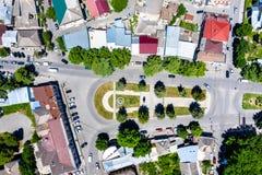Hoogste mening van een vierkant in Gori, Georgië stock afbeeldingen