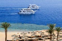 Hoogste mening van een zandig strand met sunbeds en zonparaplu's en twee grote witte schepen, een boot die, een cruisevoering in  royalty-vrije stock foto