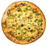 Hoogste mening van geïsoleerde pizza Stock Afbeelding