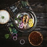 Hoogste mening van gebakken zalmlapje vlees met citroen en ui op rustiek metaaldienblad met rijstbijgerecht o Royalty-vrije Stock Afbeeldingen