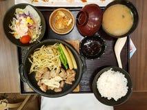Hoogste mening van geroosterd die varkensvlees met taugé en babygraan met saus, saladegroente, kimchi, rijst en miso gebaseerde s royalty-vrije stock afbeeldingen