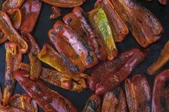 Hoogste mening van geroosterde Spaanse peper royalty-vrije stock foto's