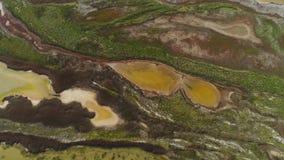 Hoogste mening van gevormd vuil water van moeras schot Het zure bruine water met groen struikgewas kijkt als vloeibare kunst vana stock videobeelden