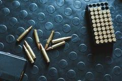 hoogste mening van geweerkogels en tijdschrift op lijst Royalty-vrije Stock Foto's