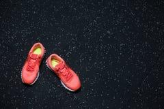 Hoogste mening van heldere karmozijnrode tennisschoenen voor vrouwen, schoenen voor sportenroutine op een donkere vage achtergron stock fotografie