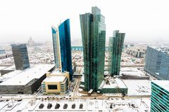 Hoogste mening van het bureaublok in het centrum van Astana, Kazachstan Royalty-vrije Stock Afbeeldingen