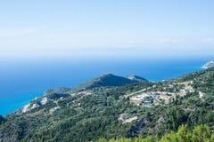 Hoogste mening van het eiland van Lefkada Stock Afbeeldingen