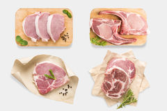 Hoogste mening van het lapje vleesreeks van de model ruwe die varkenskotelet op witte bac wordt geïsoleerd royalty-vrije stock fotografie
