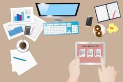 Hoogste mening van het het vierde kwartaal 2018 concept van de bureauwerkplaats stock illustratie