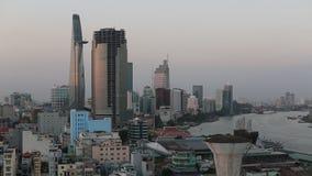 Hoogste mening van Ho Chi Minh City-centrum (vroegere Saigon) Vietnam aTrvel stock footage