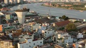 Hoogste mening van Ho Chi Minh City (Saigon) stock video