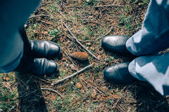 Hoogste mening van hogere paarbenen over gras Stock Foto's
