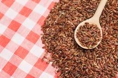 Hoogste mening van houten lepel met rode rijst, close-up Royalty-vrije Stock Foto's