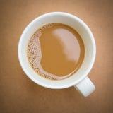 Hoogste mening van kop van koffie op houten lijst Stock Fotografie