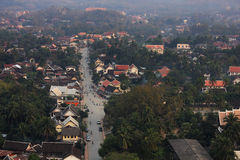 Hoogste mening van lao, landschap, moutain, dorp Stock Afbeeldingen
