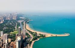 Hoogste mening van Michigan lakefront en de Horizon van Chicago met wolkenkrabbers, de V.S. royalty-vrije stock afbeeldingen