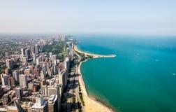 Hoogste mening van Michigan lakefront en de Horizon van Chicago met wolkenkrabbers, de V.S. royalty-vrije stock fotografie