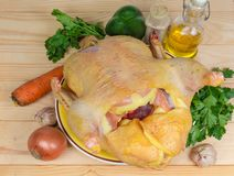 Hoogste mening van ongekookt uitgehaald karkas van grill en groenten stock foto