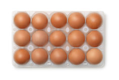 Hoogste mening van plastic eikarton met 15 eieren Stock Foto's